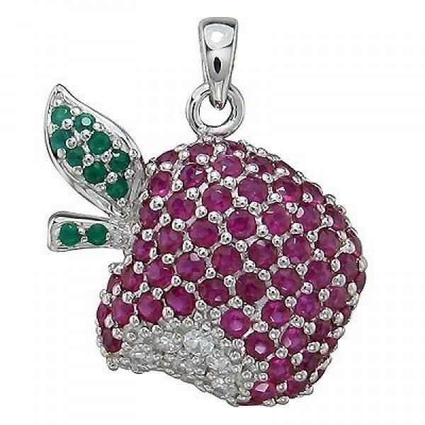 """Брелок """"Apple"""" из белого золота с бриллиантами, изумрудами и рубинами"""