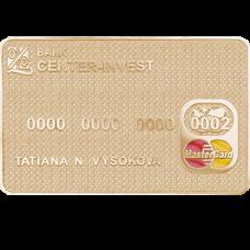 """Брелок """"Банковская карта"""" из красного золота.."""