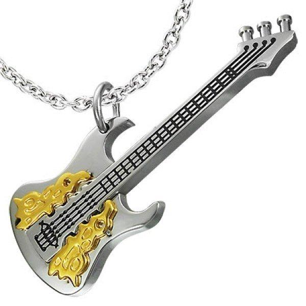 """Брелок """"Гитара"""" из комбинированного золота"""