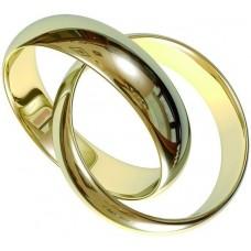"""Брелок """"Кольца обручальные"""" из желтого золота.."""