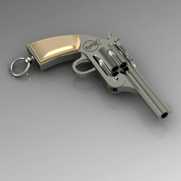 """Брелок """"Револьвер"""" из комбинированного золота с бриллиантами"""