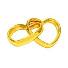 """Брелок """"Сердца"""" из желтого золота.."""