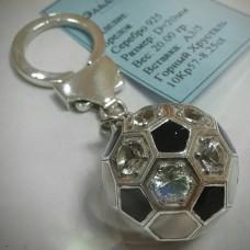 """Брелок """"Футбольный мяч"""" из серебра со вставками из горного хрусталя с .."""