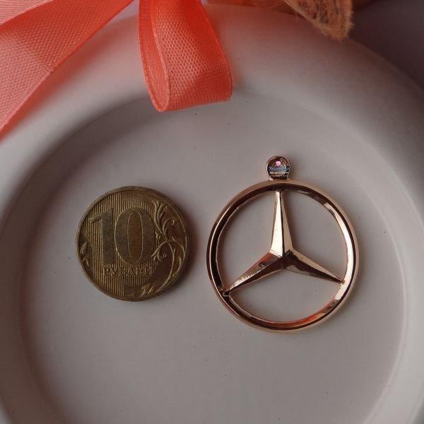 """Брелок """"Mercedes-Benz"""" двухсторонний из красного золота"""