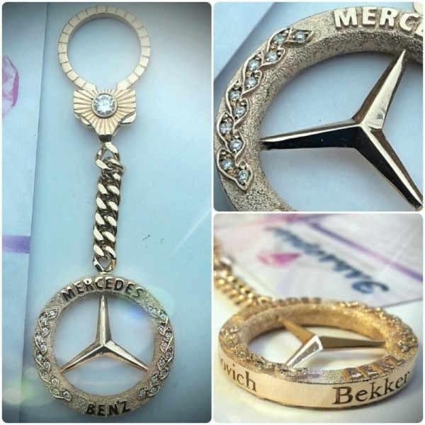 "Брелок ""Mercedes-Benz"" двухсторонний из розового золота с бриллиантами"