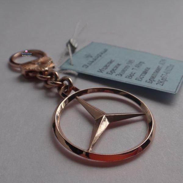 """Брелок """"Mercedes"""" из красного золота с чёрными бриллиантами"""
