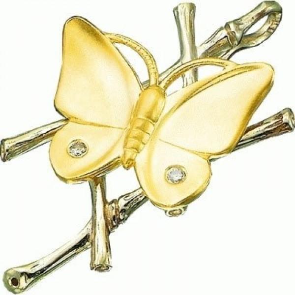 """Брошь """"Бабочка"""" из комбинированного золота"""