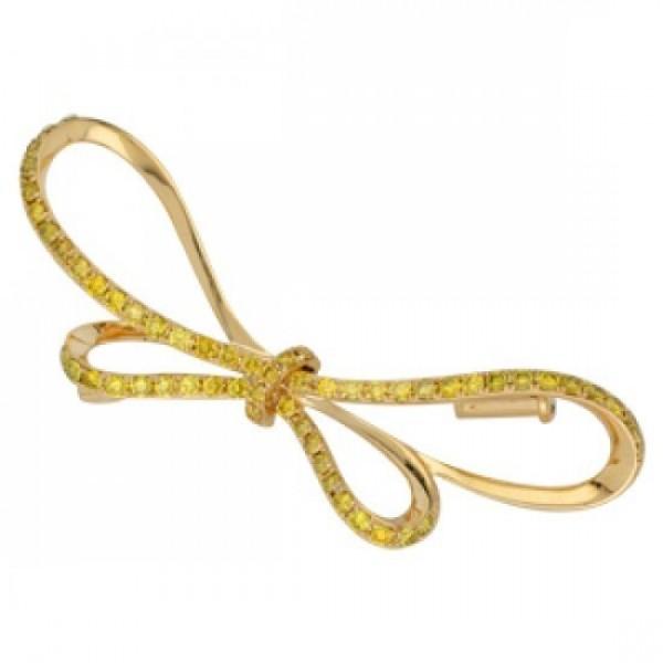 Брошь 'Бабочка' из желтого золота с сапфирами