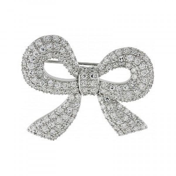 Брошь 'Бант' из белого золота с бриллиантами