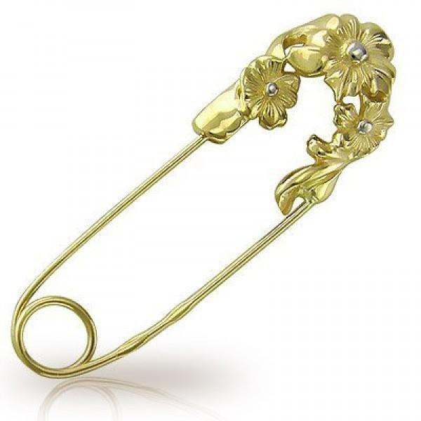 Брошь-булавка из комбинированного золота