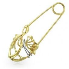 """Брошь-булавка из комбинированного золота """"Бабочка'.."""