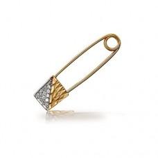 Брошь-булавка из комбинированного золота с бриллиантами..