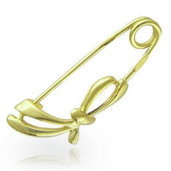 Брошь-булавка из желтого золота