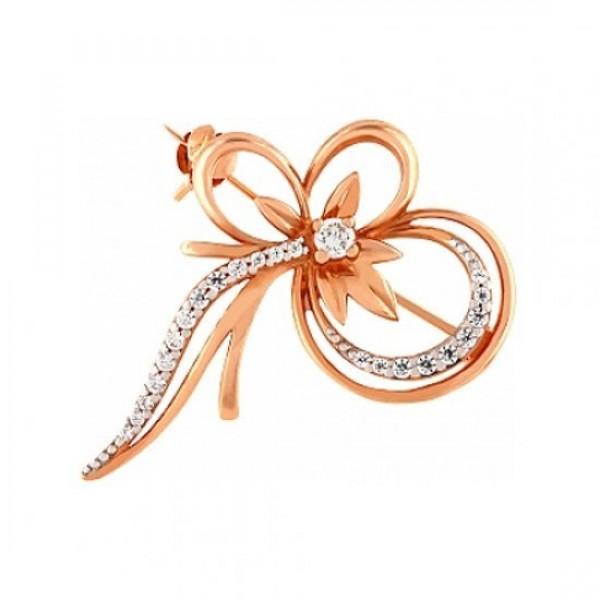 Брошь 'Цветок' из красного золота с бриллиантами