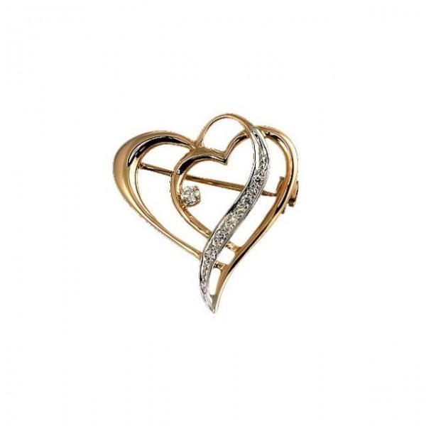 Брошь 'Два сердца'  из комбинированного золота с бриллиантами