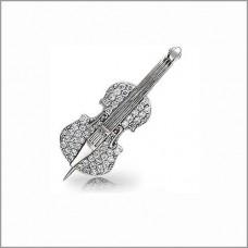 Брошь из белого золота с бриллиантами 'Скрипка'..