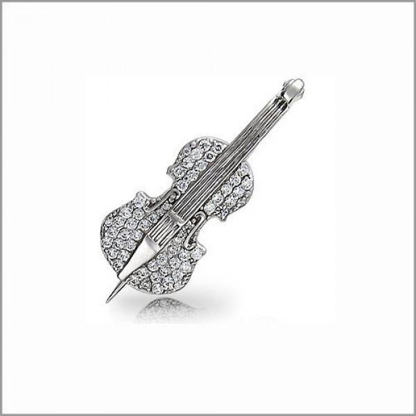 Брошь из белого золота с бриллиантами 'Скрипка'