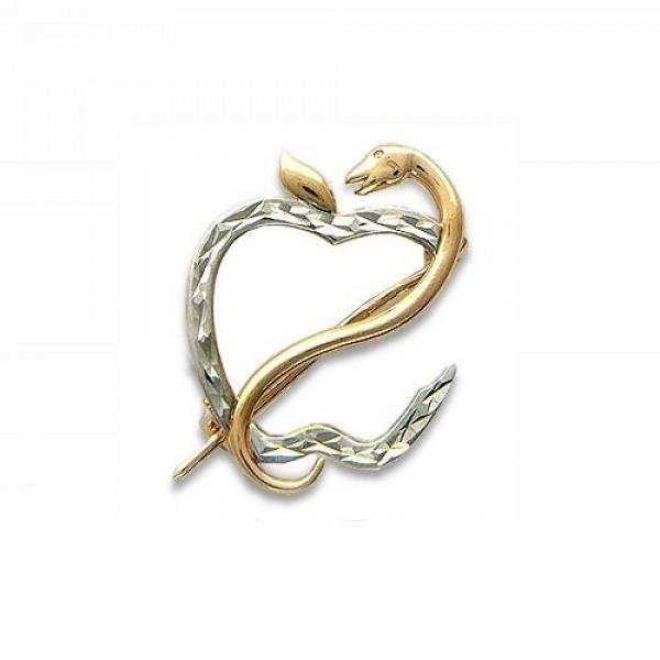 Брошь из комбинированного золота 'Змея'