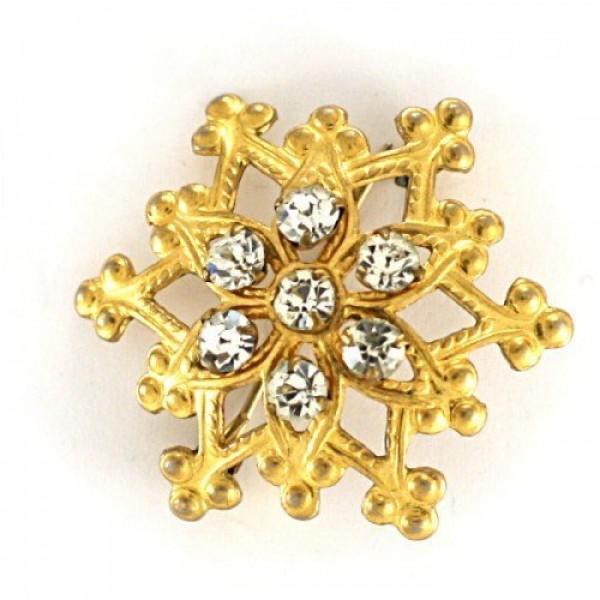 Брошь 'Снежинка'  из желтого золота с бриллиантами