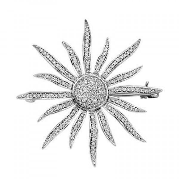 Брошь 'Солнце' из белого золота с бриллиантами