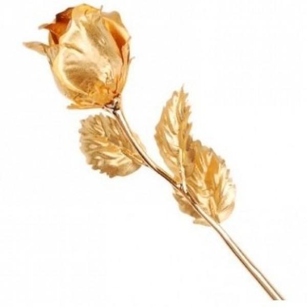 Цветок роза из желтого золота