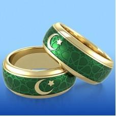 Обручальное кольцо c полумесяцем из желтого золота с эмалью..