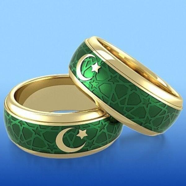 Обручальное кольцо c полумесяцем из желтого золота с эмалью