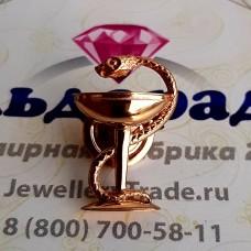 """Медицинский Значок """"Чаша со змеей"""" из красного золота.."""