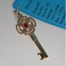 "Кулон ""Ключ"" из желтого золота с рубином.."