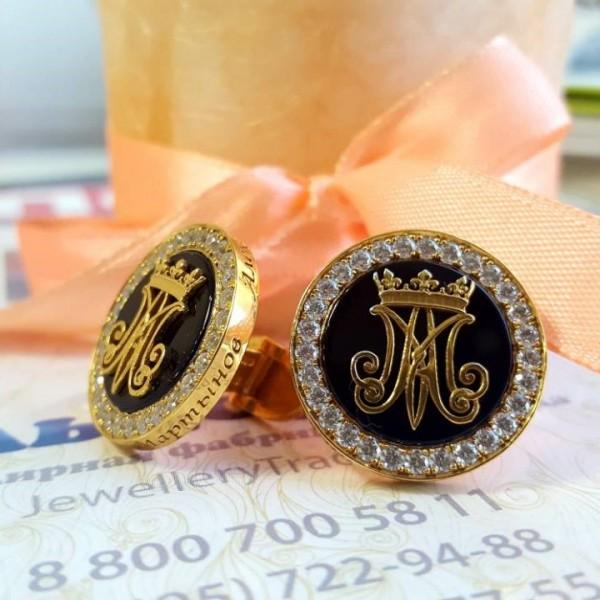Именные запонки из жёлтого золота с агатом и бриллиантами