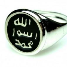 Мусульманский мужской перстень из белого золота с черной эмалью..