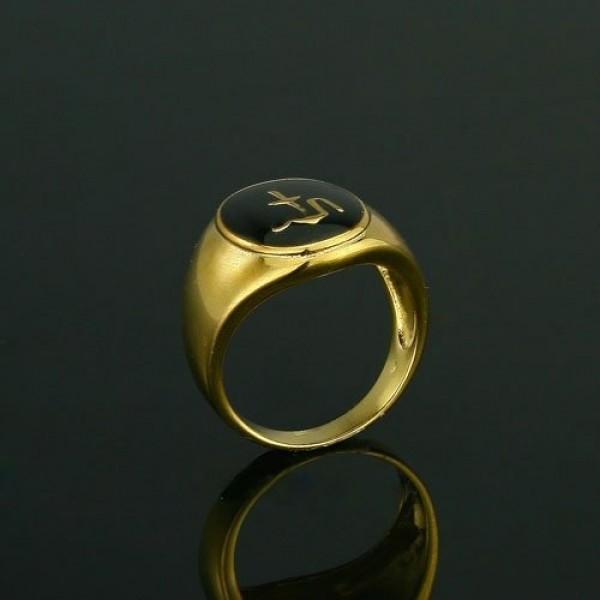 Мусульманский мужской перстень из желтого золота с черной эмалью