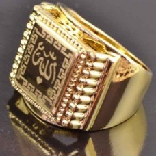 Мусульманский мужской перстень из желтого золота с черной эмалью..