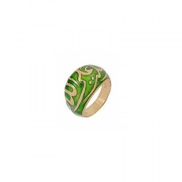 Мусульманский перстень из красного золота с зеленой эмалью