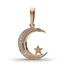 Полумесяц со звездой из комбинированного золота с бриллиантами..