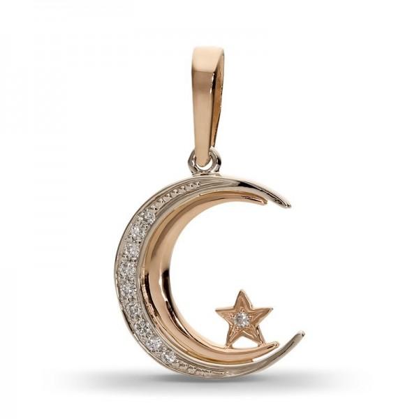 Полумесяц со звездой из комбинированного золота с бриллиантами