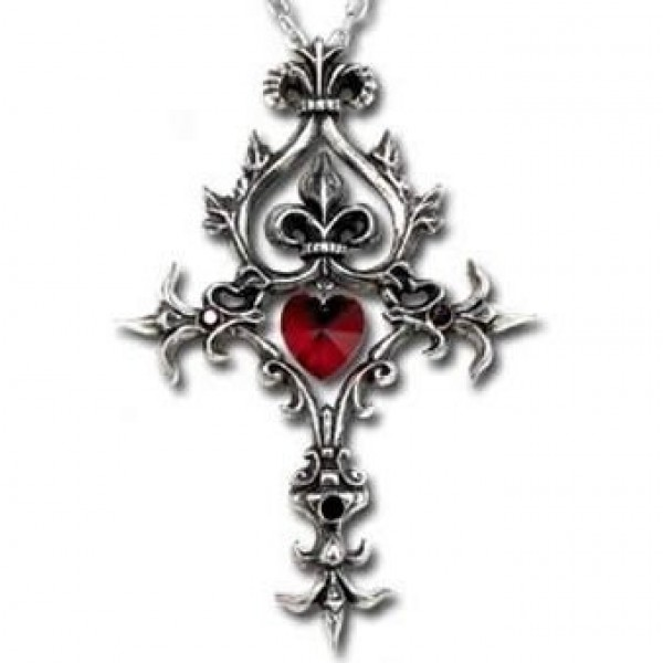 """Крест из белого золота с рубином """"Сердце"""" и черными бриллиантами"""