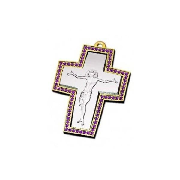 Крест из комбинированного золота с аметистами