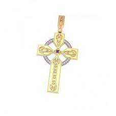 Крест из комбинированного золота с бриллиантами и сапфиром..