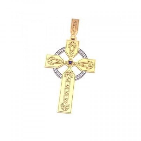 Крест из комбинированного золота с бриллиантами и сапфиром