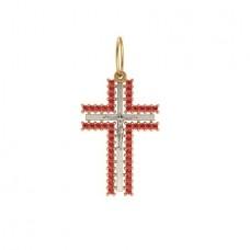 Крест из комбинированного золота с рубинами..