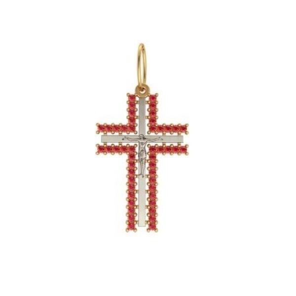 Крест из комбинированного золота с рубинами