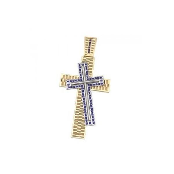 Крест из комбинированного золота с сапфирами