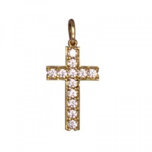 Крест из желтого золота с бриллиантами