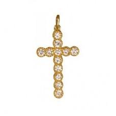 Крест из желтого золота с бриллиантами..