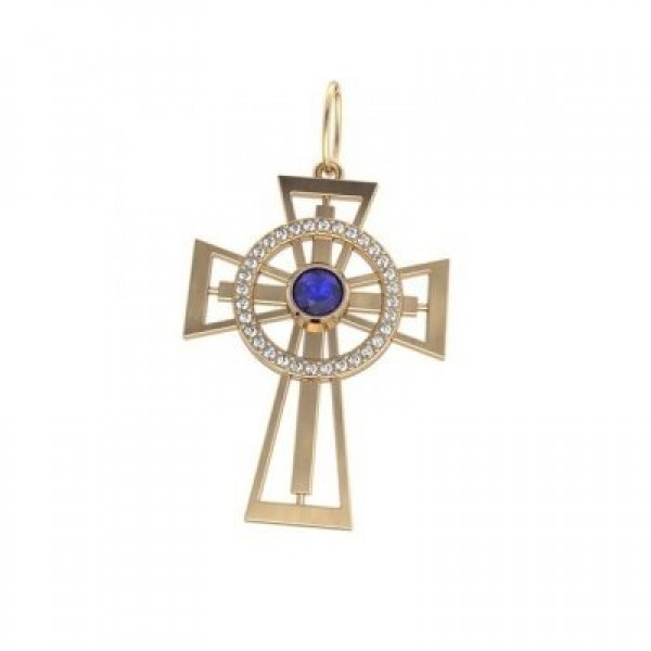 Крест из желтого золота с бриллиантами и сапфиром