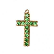 Крест из желтого золота с изумрудами..