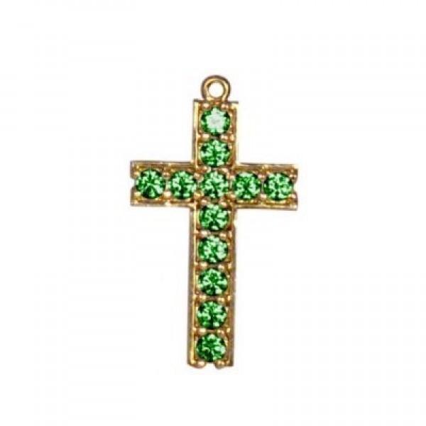 Крест из желтого золота с изумрудами