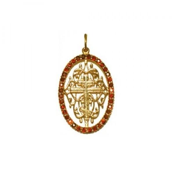 Крест из желтого золота с рубинами