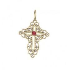 Крест из желтого золота с рубином и бриллиантами..